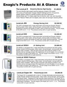 Enagic Products at a Glance - NEW