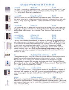 Enagic Products At A Glance 2014